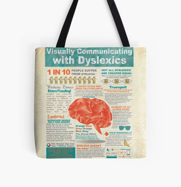 Visually Communicating with Dyslexics Infrographic All Over Print Tote Bag