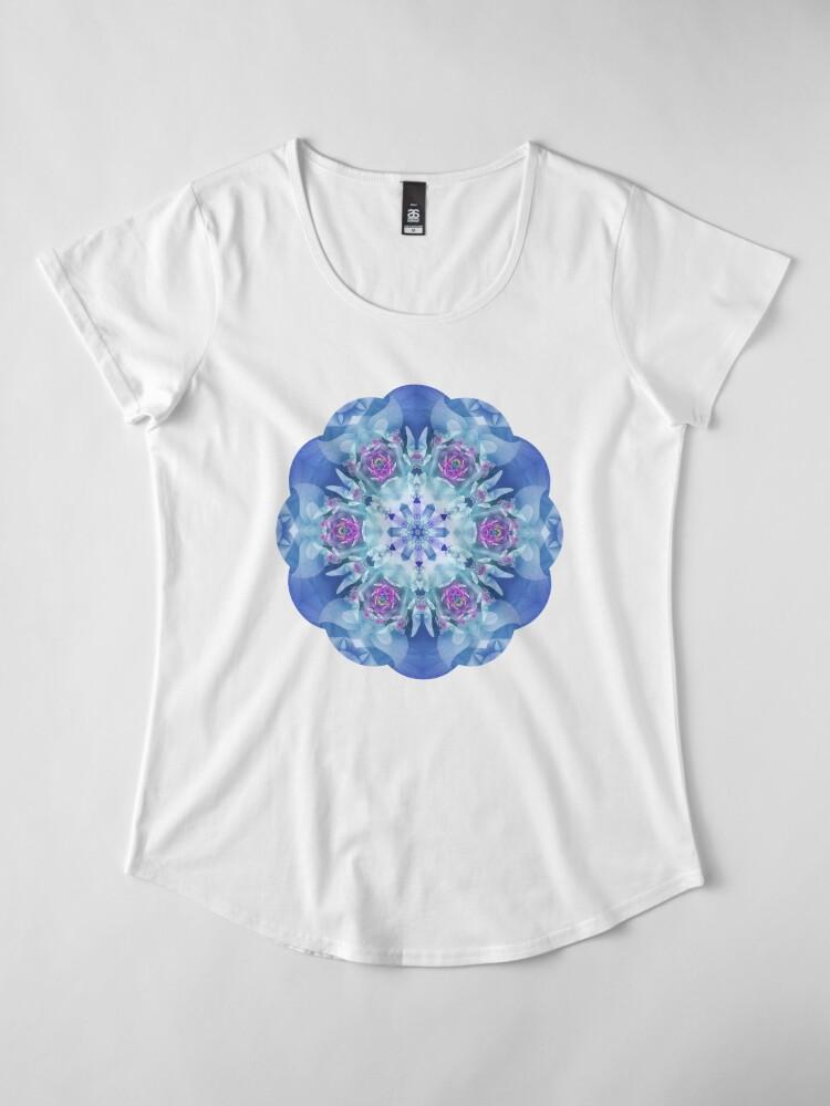 Alternate view of Royal Blue and Purple Mandala Premium Scoop T-Shirt