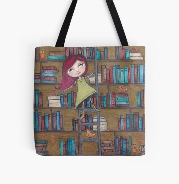 Library Girl Books and Birds All Over Print Tote Bag