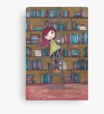 Library Girl Books and Birds Canvas Print
