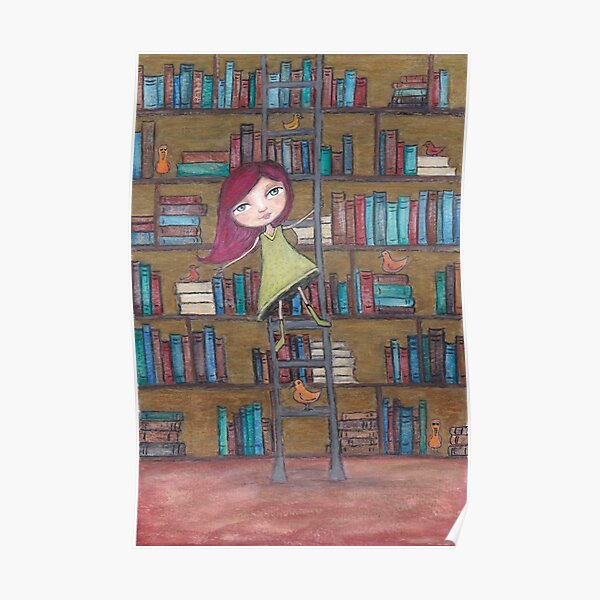 Library Girl Books and Birds Poster