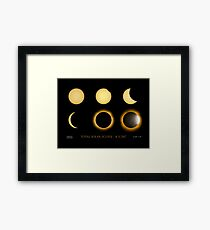 Total Eclipse Sequence with Date, Location, Artist Signature Framed Print
