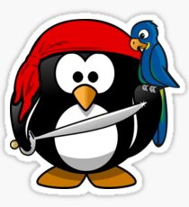 Funny pirate penguin with parrot Sticker