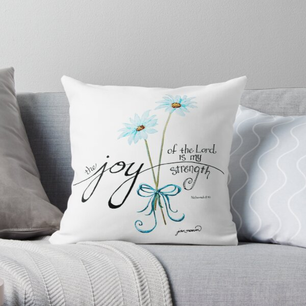 The Joy of the Lord is my Strength outline by Jan Marvin Throw Pillow