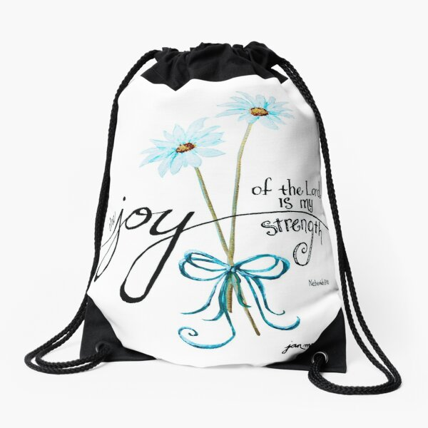 The Joy of the Lord is my Strength outline by Jan Marvin Drawstring Bag
