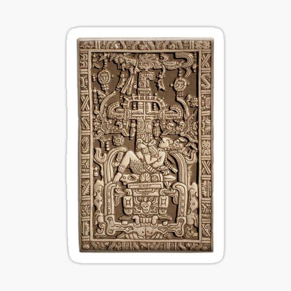 Ancient Astronaut. Pakal, Maya, sarcophagus lid. Sticker