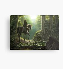 Where the Wooden Stream Flows Green and Golden Metal Print