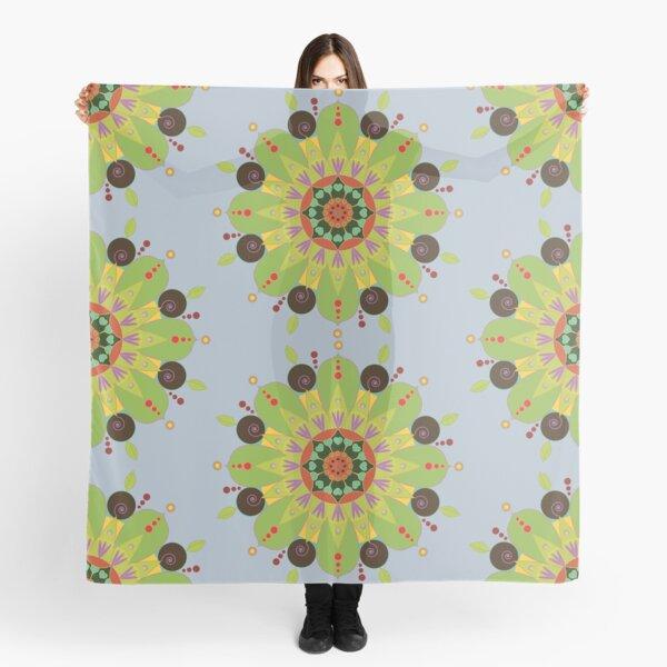 Mandala fleur, vert Foulard