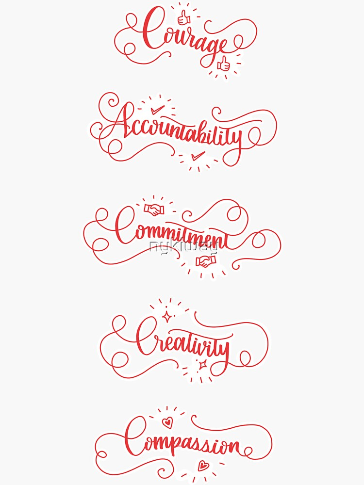 Redbubble Values Stickers by nykiway