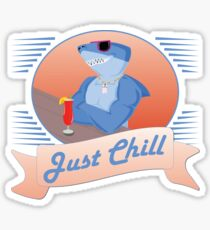Just Chill - Tiki Bar Beach Shark Sticker