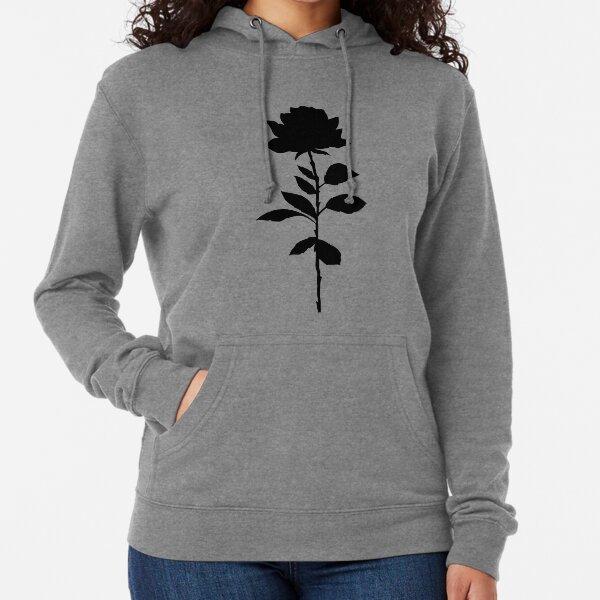 Simple Rose Silhouette  Lightweight Hoodie