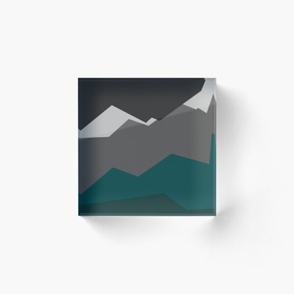 Teal Tension Graphic Design Acrylic Block