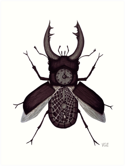 stag beetle clock surreal black and white pen ink drawing art