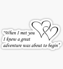 When I met you I knew a great adventure was about to begin Sticker