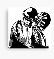 Daft Punk mixing blanco y negro Canvas Print