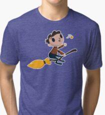 Retro Wizard on a Broom (3) Tri-blend T-Shirt