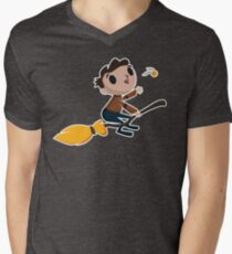 Retro Wizard on a Broom (3) Men's V-Neck T-Shirt