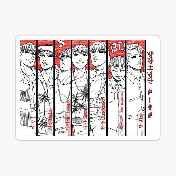 BTS - red, black & white Sticker
