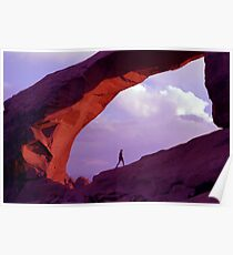 Man Walking Under Arch near Sunset Poster