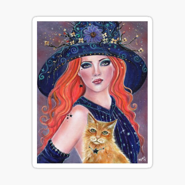Tabitha Halloween with and kitty by Renee L lavoie Sticker