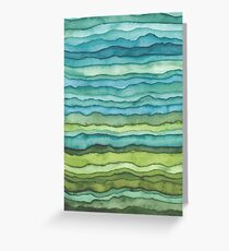 Blue and Green Waves Greeting Card