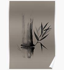 Bamboo stalk Sumi-e Oriental Zen painting design on beige background art print Poster