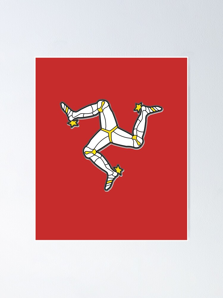 Alternate view of Isle Of Man 3 Legs Of Man Traditional Manx Flag Celtic Triskelion Poster