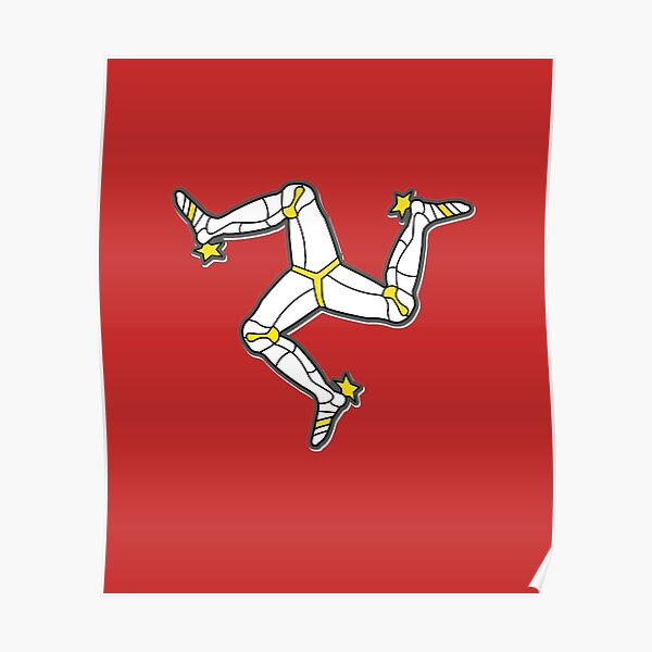 Isle Of Man 3 Legs Of Man Traditional Manx Flag Celtic Triskelion Poster