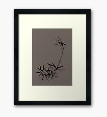 Bamboo stalk with young leaves Sumi-e Japanese Zen painting artwork on mocha background art print Framed Print
