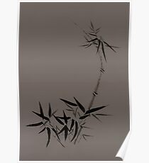 Bamboo stalk with young leaves Sumi-e Japanese Zen painting artwork on mocha background art print Poster