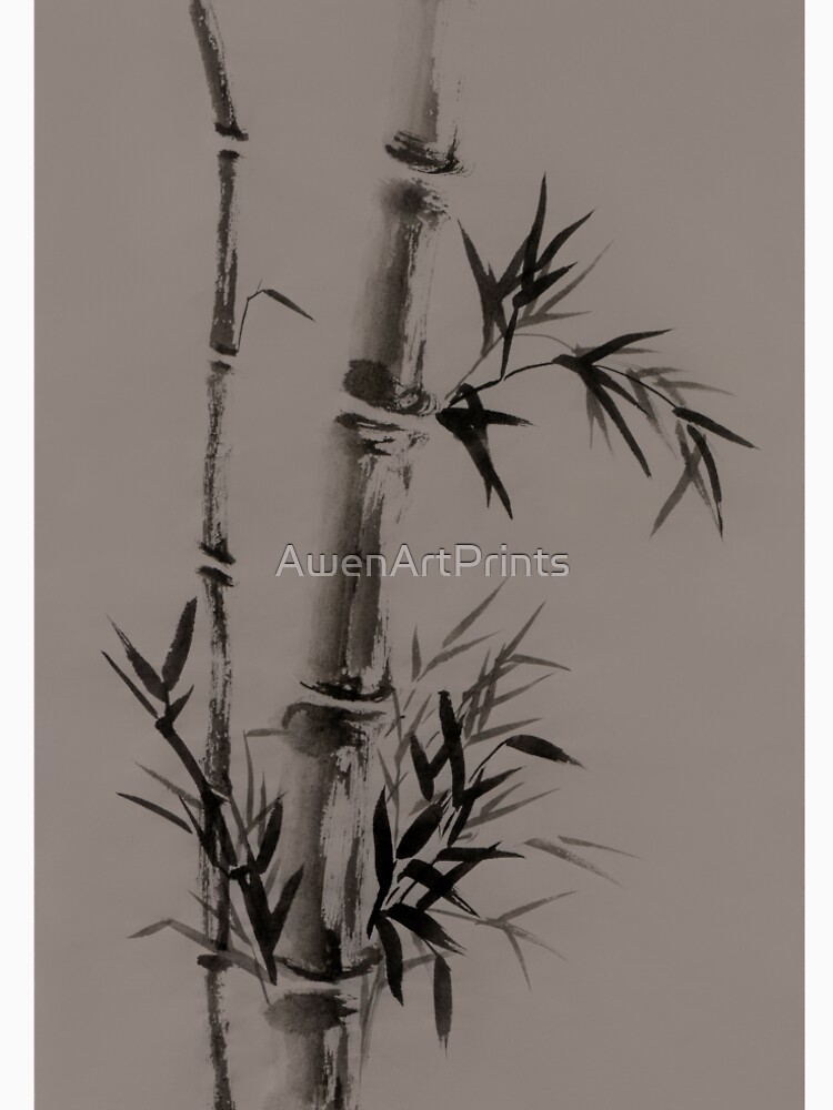 Bamboo stalk with leaves Sumi-e rice paper Zen painting artwork artistic design art print by AwenArtPrints