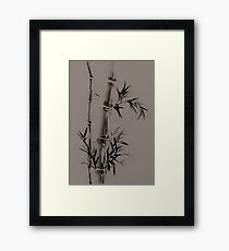 Bamboo stalk with leaves Sumi-e rice paper Zen painting artwork artistic design art print Framed Print