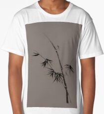 Bamboo stalk with young leaves minimalistic Sumi-e Japanese Zen design in natural colors art print Long T-Shirt