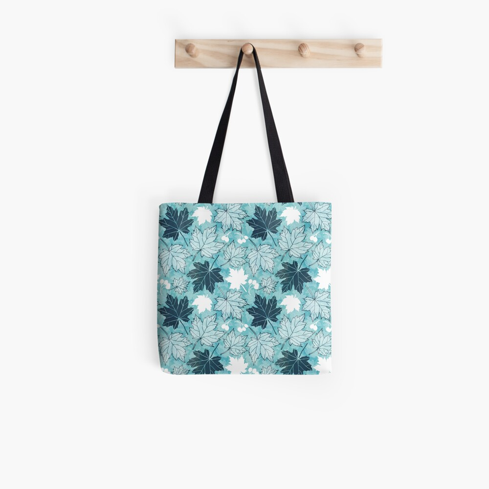 Autumn leaves in turquoise and blue Tote Bag