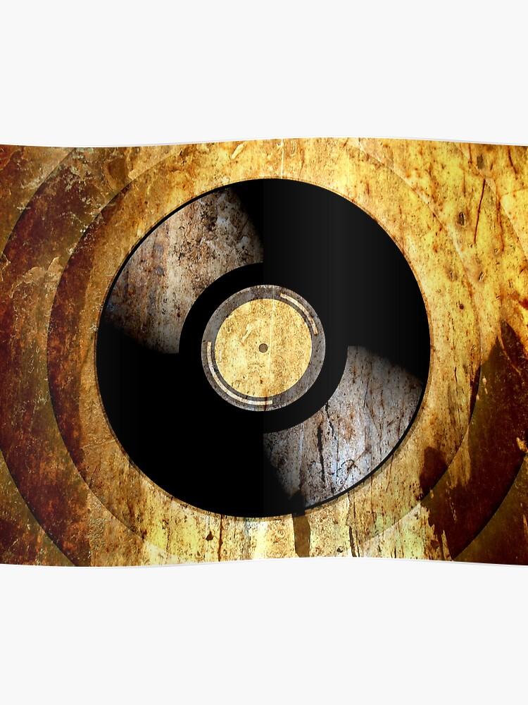 Vintage Vinyl Record Rust Texture - RETRO MUSIC DJ!   Poster