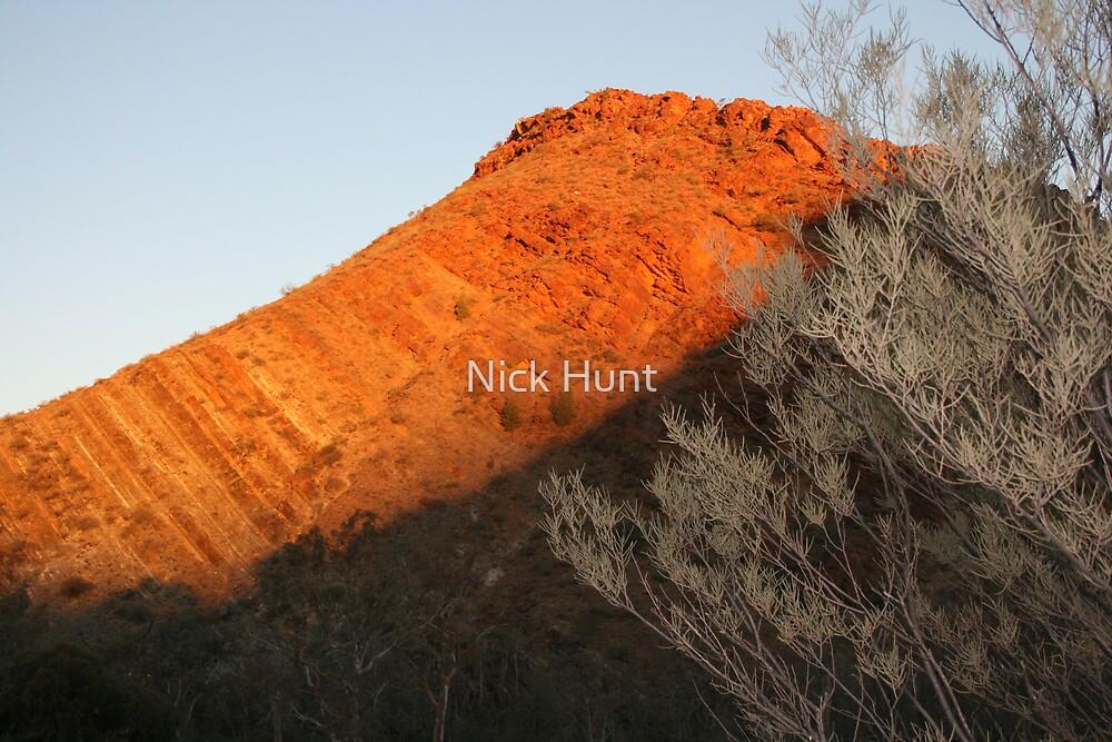 Griselda, a peak catching the setting sun at  Arkaroola SA. by Nick Hunt
