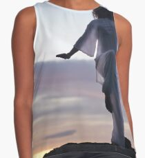 Woman practicing Tai Chi at sunset outdoorsa art print Contrast Tank