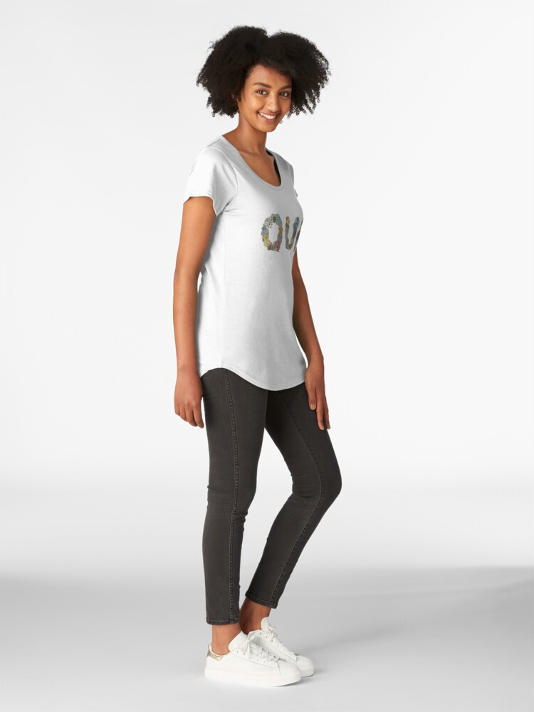 Alternate view of OUI - Floral Lettering Premium Scoop T-Shirt