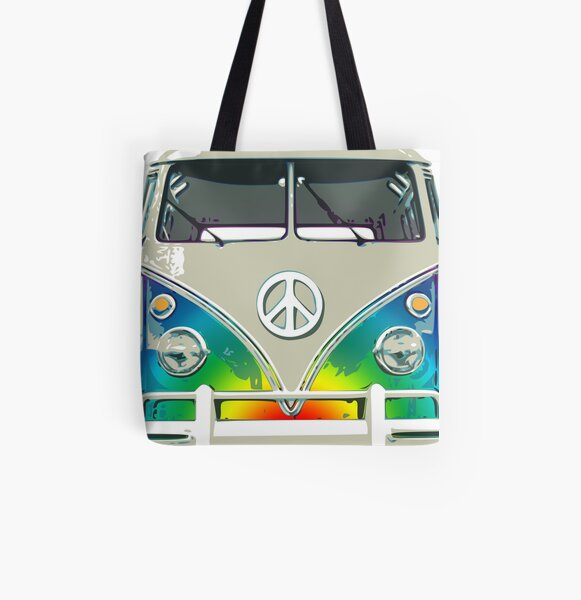 Colorful Psychedelic Groovy Peace Van All Over Print Tote Bag