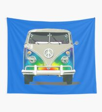 Colorful Psychedelic Groovy Peace Van Wall Tapestry