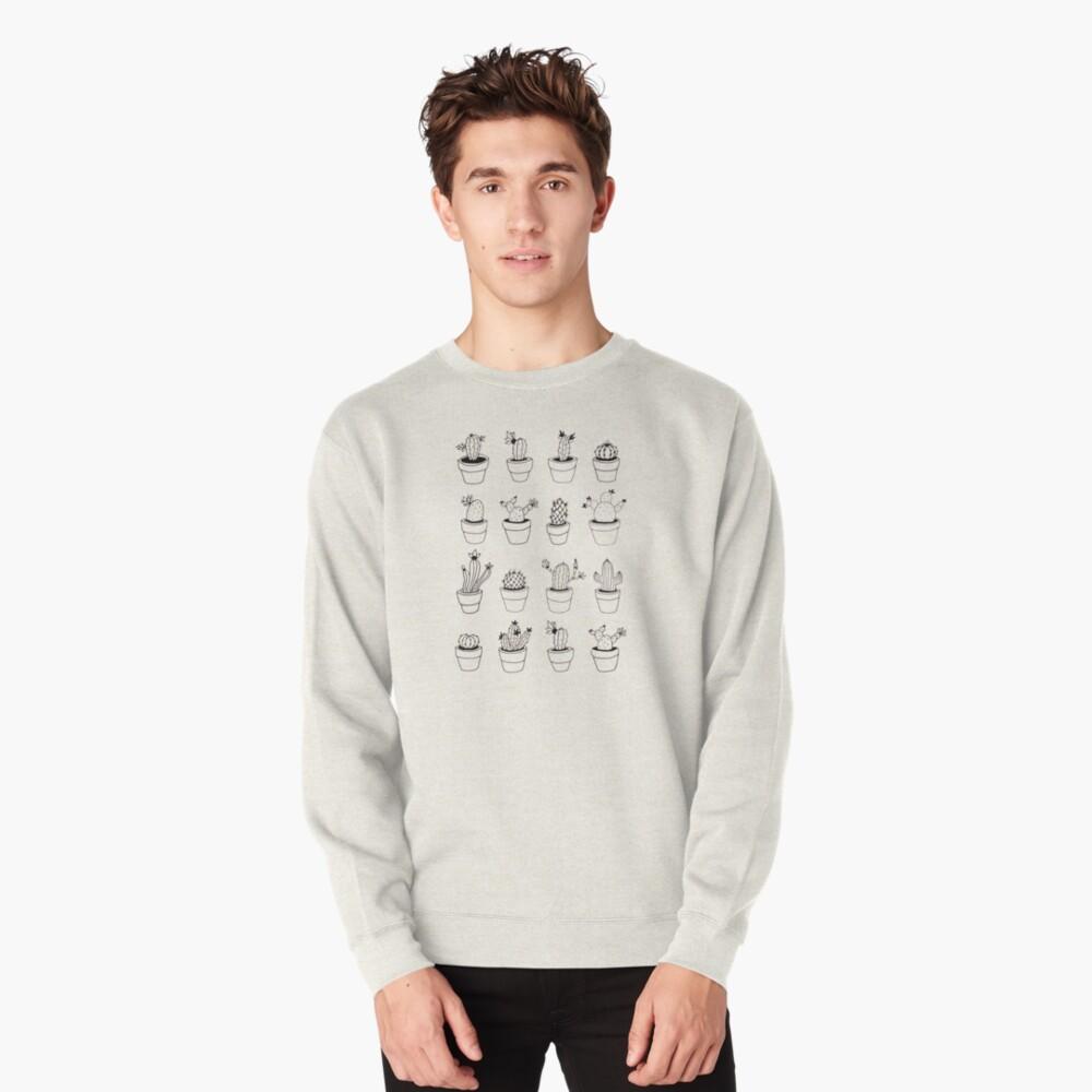 Hand Drawn Cactuses Pattern Pullover Sweatshirt