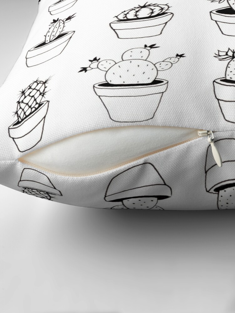 Alternate view of Hand Drawn Cactuses Pattern Throw Pillow