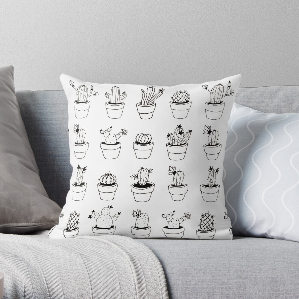 Hand Drawn Cactuses Pattern Throw Pillow