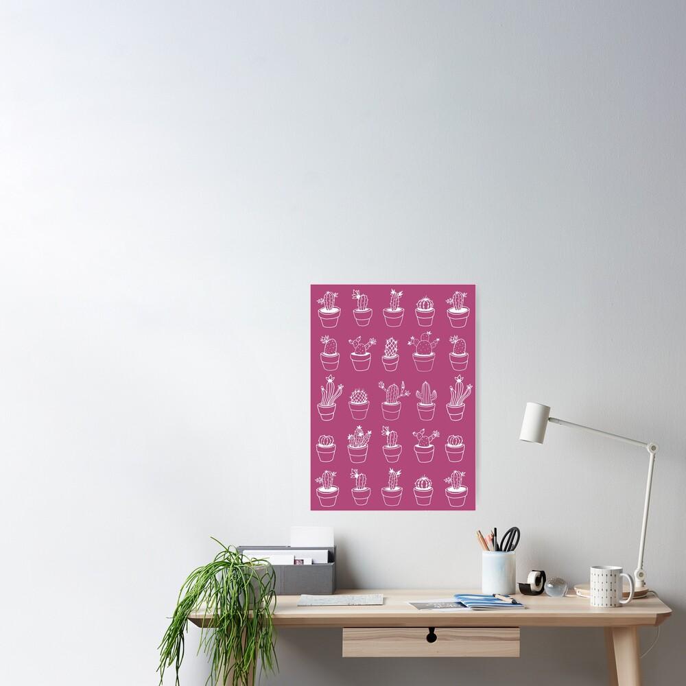 Hand Drawn Cactuses Pattern Dark Pink Poster