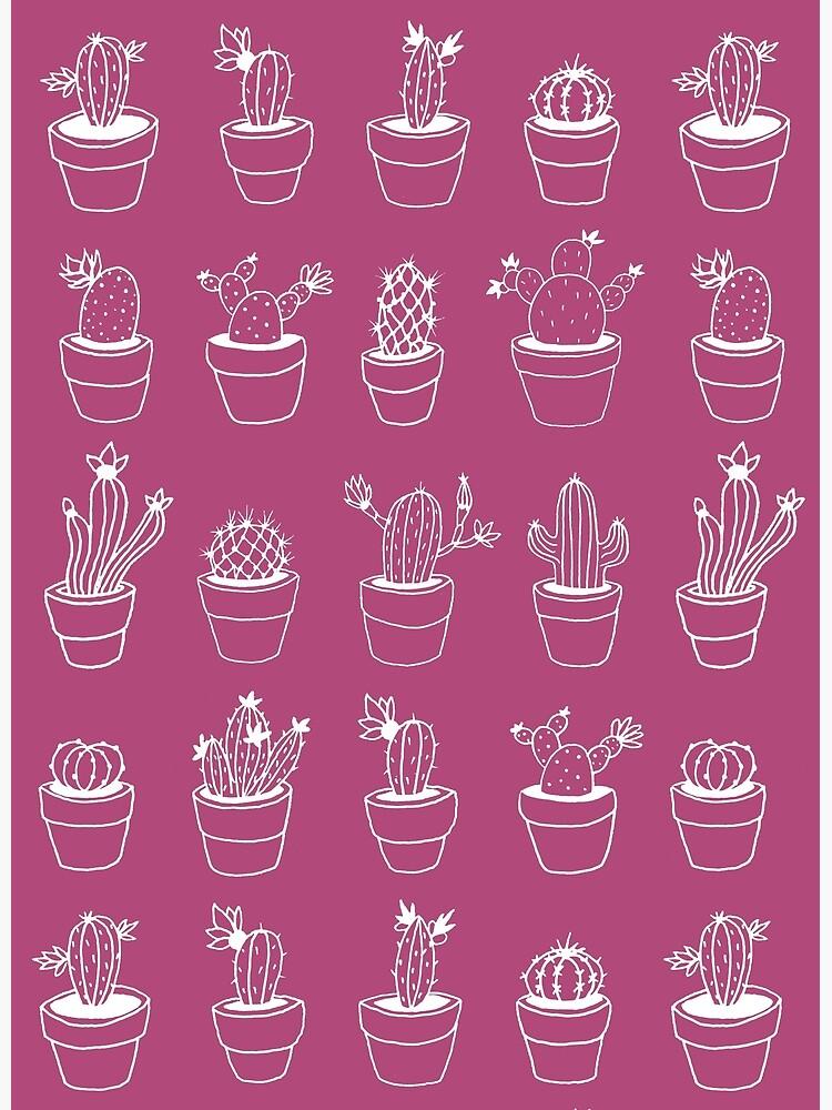Hand Drawn Cactuses Pattern Dark Pink by mirunasfia