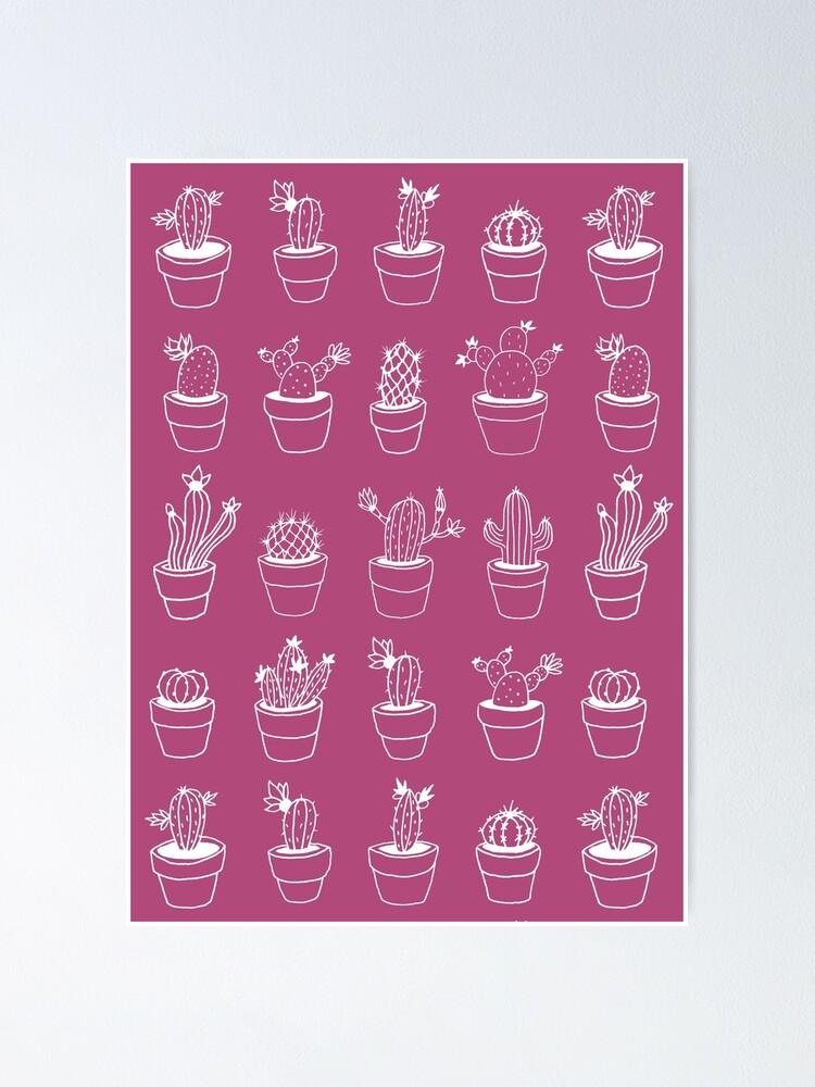 Alternate view of Hand Drawn Cactuses Pattern Dark Pink Poster