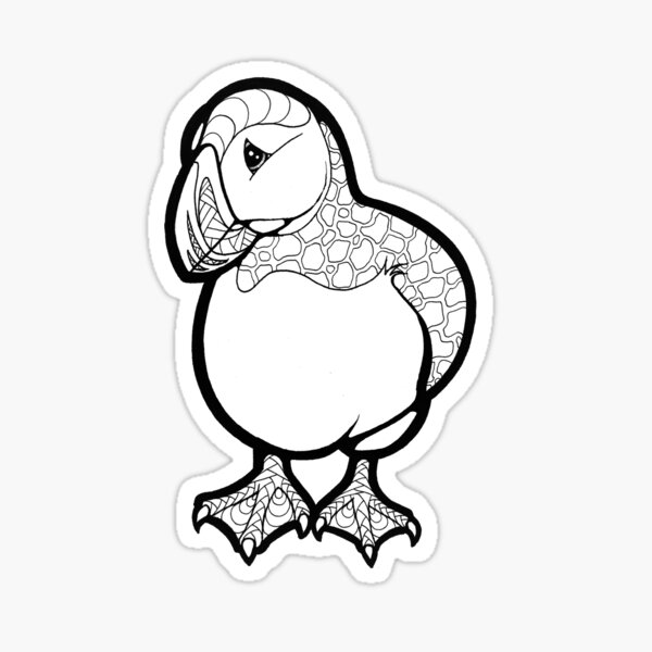 Color your Puffin Sticker