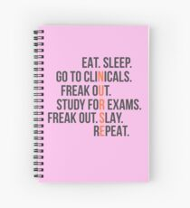 Funny Nurse Quote - Eat Sleep RN LPN Clinicals Nursing Gift Spiral Notebook