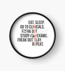 Funny Nurse Quote - Eat Sleep RN LPN Clinicals Nursing Gift Clock