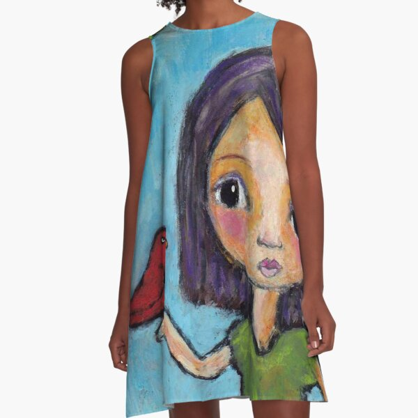 Girl and a Red Bird A-Line Dress